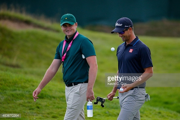 Adam Scott and his brother-in-law coach Brad Malone.  (Photo - Getty Images)