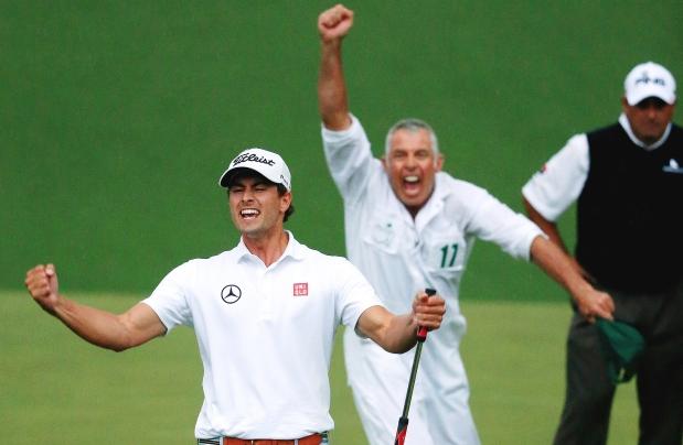Adam Scott and Steve Williams winning 2014 Masters