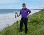 Bernie on the Atlantic Ocean shoreline at Askernish Golf Club.