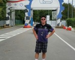 Bernie at the entrance to Monza Autodrome - a month after visiting Indianapolis that I had first visited in late 1979.