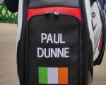 The golf world will be seeing more of this bag - Paul Dunne proudly showing his Irish colours.  (Photo - www.golfbytourmiss.com)