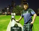 Bernie and his 'Koala' head cover at 17th tee marker.