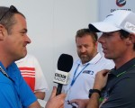 BBC's 5-Live Iain Carter speaking with Rory McIlroy post second round.