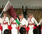 Doha's Souq Waqif - Military band playing to the sounds of bagpipes.