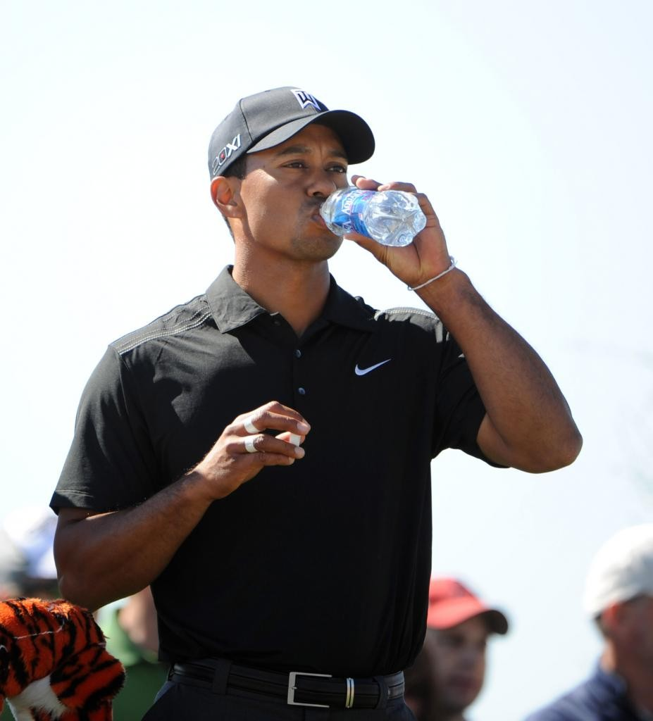Tiger Woods keeping himself hydrated.