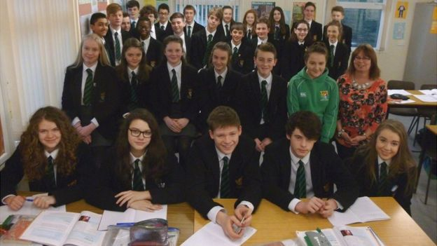 The class at Sullivan Upper School at Belfast quiz former pupil Rory McIlroy - March 2016