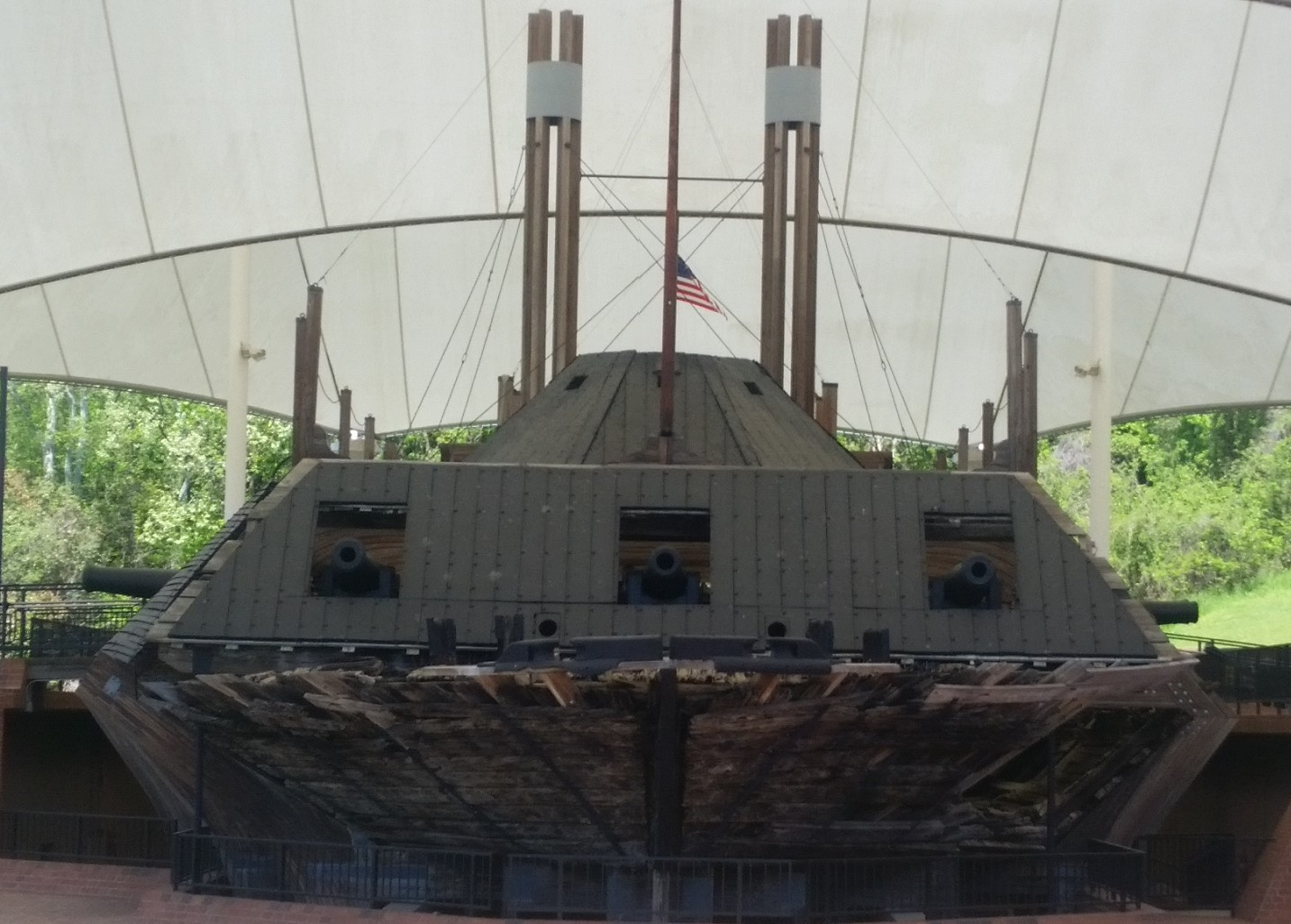USS Cairo sunk by a mine in 1864 and raised to the surface in 1965.