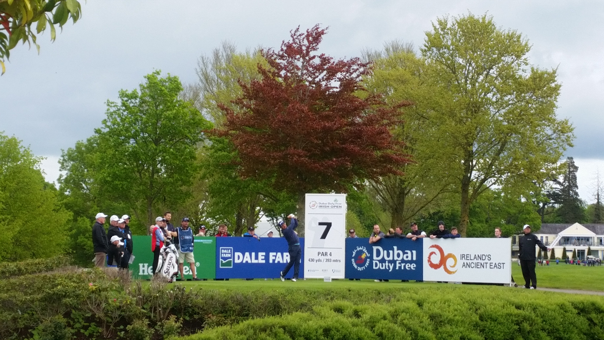 G Mac driving off the 7th hole during the Dubai Duty Free Irish Open Pro-Am.