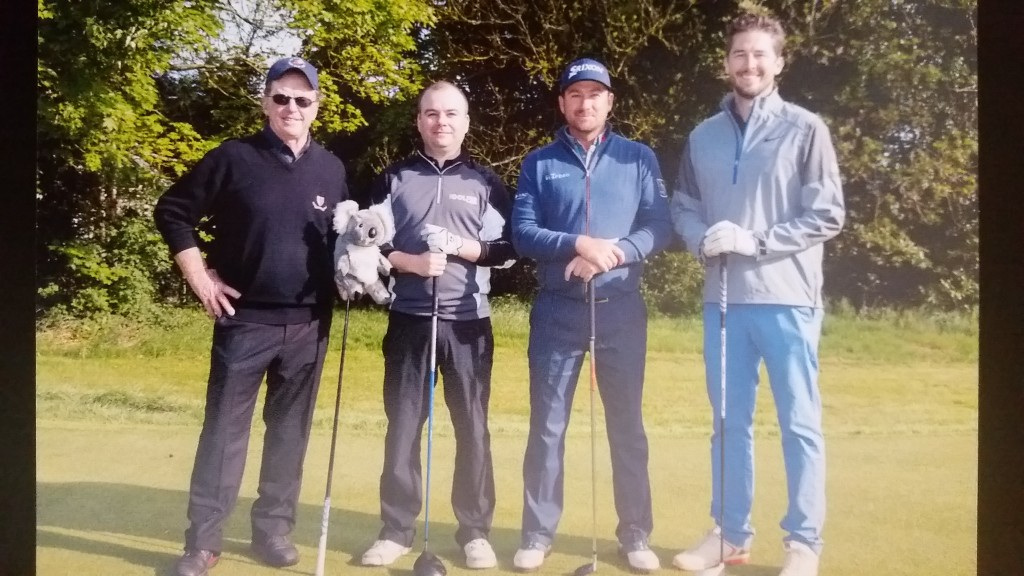 Bernie, his Koala head cover, Peter Finnan, G Mac & Robbie Southfield.