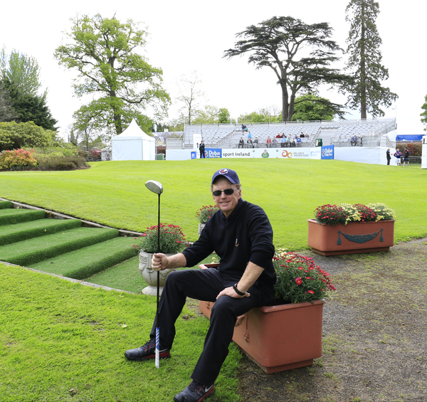 Having a break on the first tee ahead of tackling the closing nine holes of the K Club.