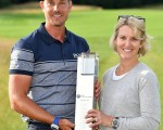 Henrik Stenson and his wife, Emma with the gleaming BMW International Open trophy.  (Photo - Getty)