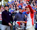 Bubba Watson on the first tee of the 2012 Ryder Cup and now in Hazeltine as a fifth USA Vice-Captain.