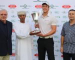 Ghala Open winner Aaron Leitmannstetter with Ziyad Al Zubair, a board member  of Ghala Golf Club, Moroccan Ambassador to Oman Tariq El Hsissen and Rod  Bogg of the MENA Golf Tour