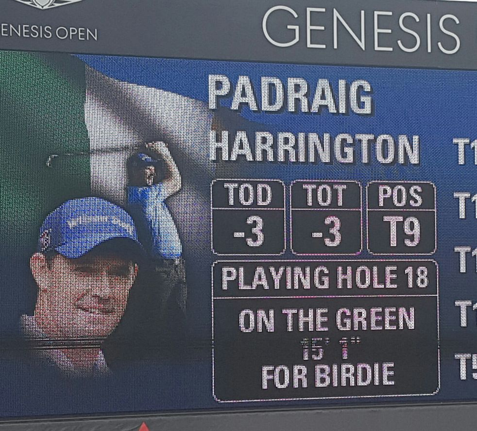 Padraig Harrington about to make it three birdies in a row to end his round.