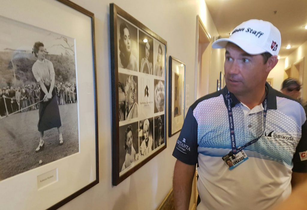 Padraig Harrington looking at the picture of Jean Harlow thinking at first it was Marilyn Munroe