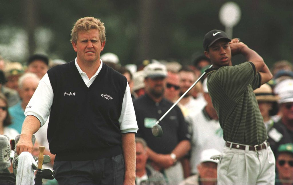 Colin Mongomerie and Tiger Woods during the third round of the 1997 Masters