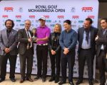 Dutch amateur Pierre Junior Verlaar after receiving the winner's trophy from Fouad Akasbi, president of Royal Golf D'Anfa and Vice President of the Royal Moroccan Golf Federation.  Reda Bennis, Director General of the Royal Moroccan Golf Federation, Warchan Ali of Royal Golf D'Anfa, Majid Bennis of HLO and Mohamed Juma Buamaim, Chairman of the  MENA Tour, were also present.